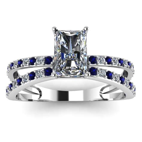 radiant blue sapphire engagement ring