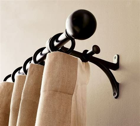 pottery barn drapery rods double curtain rod living room decor pinterest