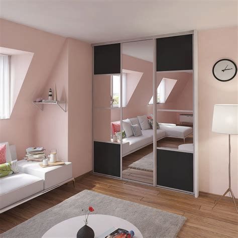 portes coulissantes miroir porte de placard coulissante gris graphite miroir spaceo l 67 x h 250 cm leroy merlin