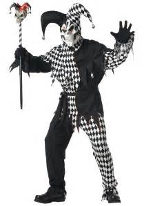 Scary Halloween Costumes For Men Mens Scary Jester Costume Wicked Clown Costumes