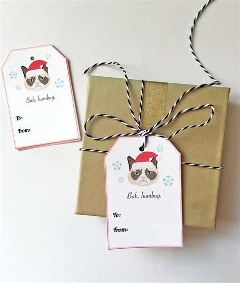 grumpy cat gift tags set of 10 christmas cat gift tags
