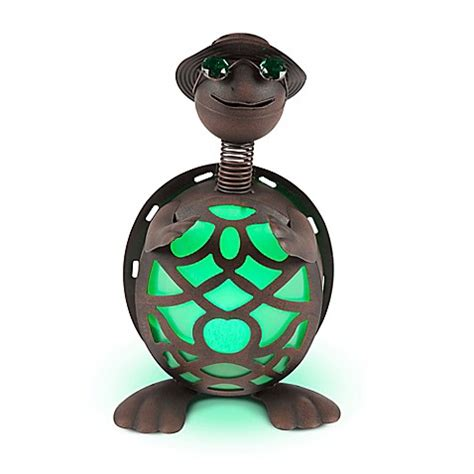 Solar Lighted Metal Turtle In Brown Green Bed Bath Beyond Solar Turtle Light