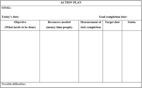 minimalist template word sle of action plan with goal