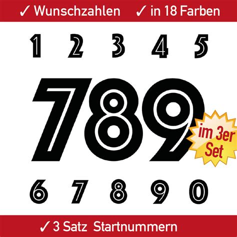 Zahlen Aufkleber Motorrad by 3x3 Startnummern Aufkleber Einfarbig Ziffern F 252 R Motorrad