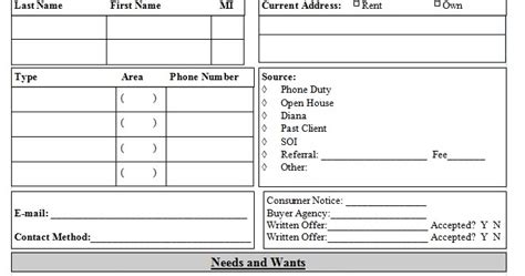 Real Estate Client Info Template Sle Real Estate Client Information Template