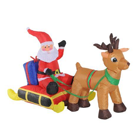 outdoor lighted sleigh and reindeer 4 santa claus sleigh w reindeer lighted