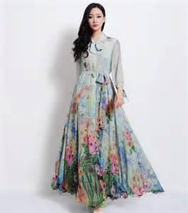 Bell long short belted floral printed full sleeves dresses