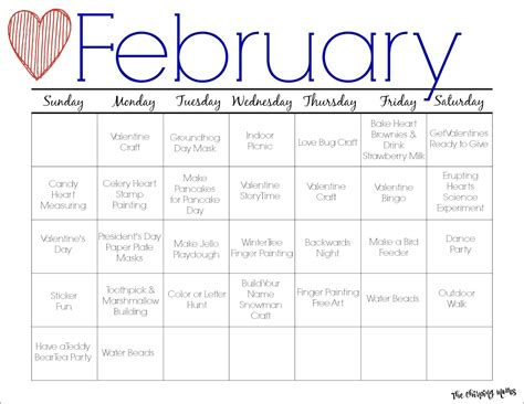 Free Activity Calendar Template by February Printable Activity Calendar For The