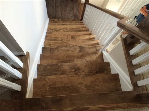 Stained Oak Floors by Maple Straight Stairs Maple Finishing In Dark Stain Hand