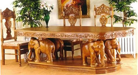 elephant theme wooden dining table