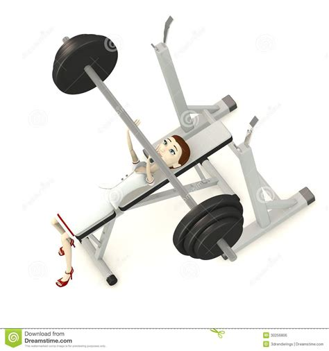 cartoon bench press cartoon nurse with benchpress royalty free stock image