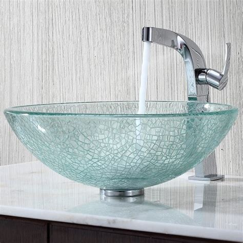 kraus c gv 500 12mm 15100ch broken glass vessel sink and typhon faucet modern bathroom sinks