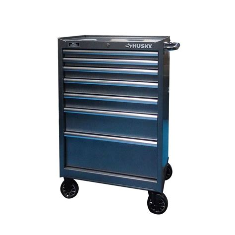 husky 37 in 7 drawer tool cabinet in metallic silver