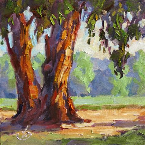 daily painters of california eucalyptus trees farm california impressionist plein air