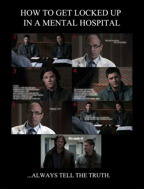 Funny Hospital Memes - supernatural funny meme how to get locked up in a mental hospital by meryheartless funny