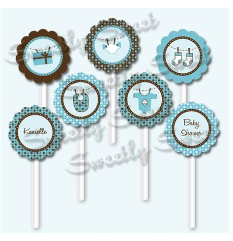Cupcake Toppers For Baby Boy Shower by Sweetly Sweet Boy Baby Shower Cupcake Toppers And Word