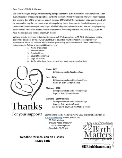 Sponsorship Letter Matter South Dakota Birth Matters South Dakota Birth Matters