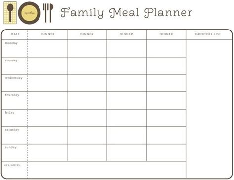 free printable menu planner with snacks weekly month planner template for food google search