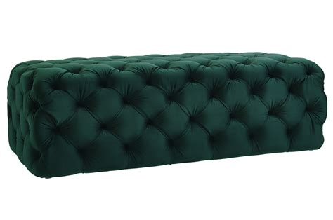 Black Velvet All Over Deep Tufted Ottoman Bench Velvet Tufted Ottoman