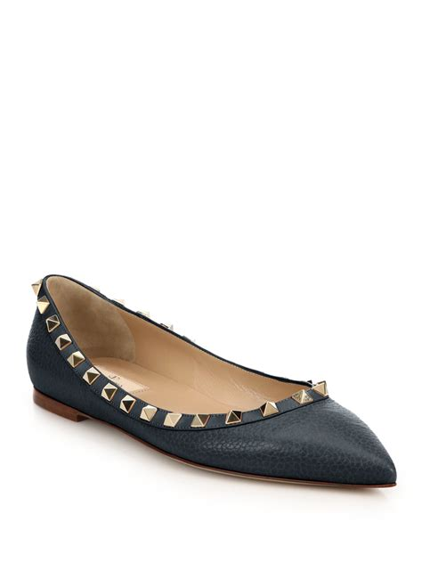 lyst valentino rockstud pebbled leather flats in blue