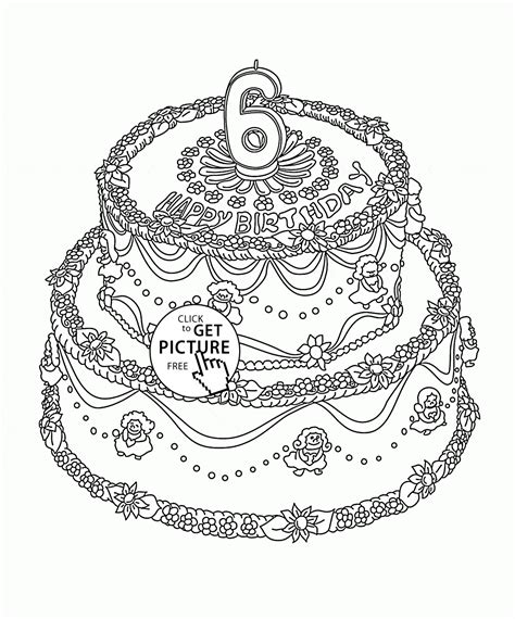 big cake coloring pages big birthday cake with number 6 for kids holiday coloring
