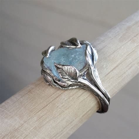 benitoite engagement ring made to order sculpted leaf twig