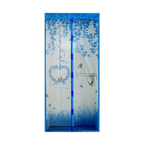 Tirai Pintu Magnetik Anti Nyamuk Desain Monkey jual eigia mosquito motif tirai pintu magnet anti nyamuk dan serangga biru harga