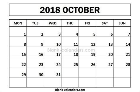 printable october  calendar monday start calendar
