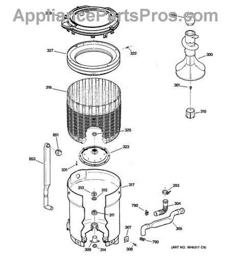 ge washer parts diagram ge wh2x1198 tub bearing appliancepartspros