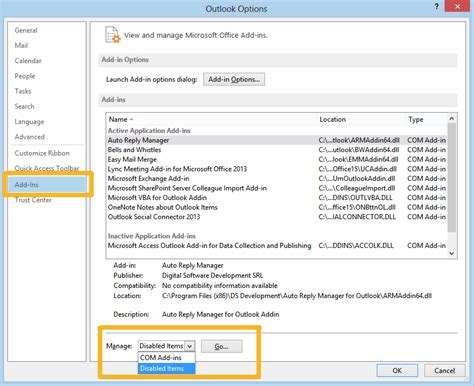 Office 365 Outlook Plugins Outlook 2013 Disabled Add Ins