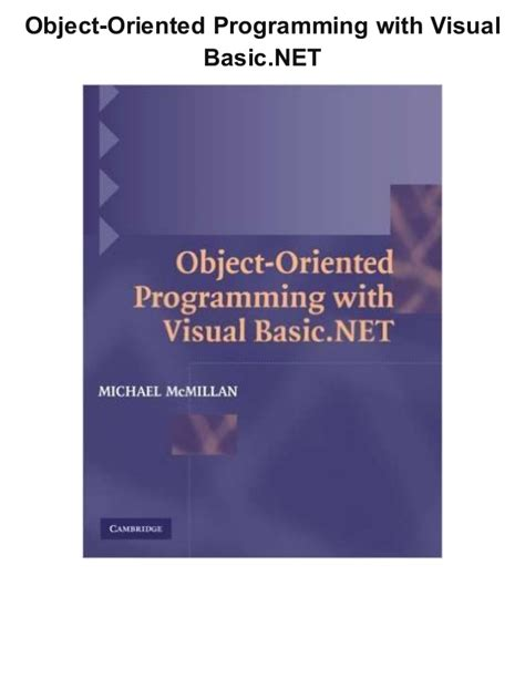Programming Vb Net Pdf | object oriented programming with visual basic net ebook