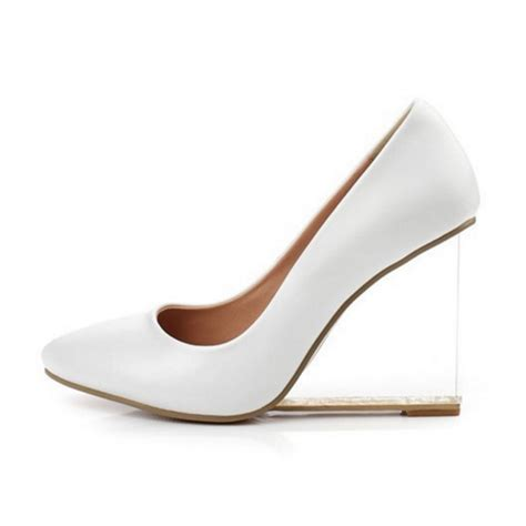 white wedge high heels white leather korean transparent wedge high heels court shoes
