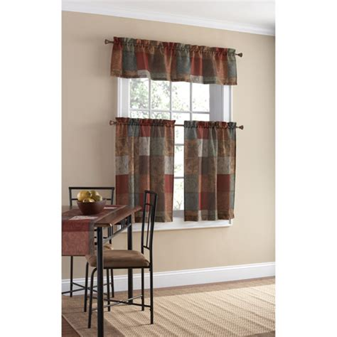 Mainstays polyester small curtain panel and valance set walmart com
