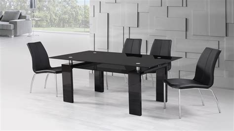 black high gloss glass dining table and 6 black dining chairs