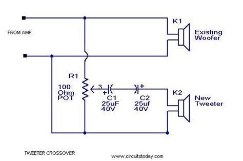 high pass filter tweeter tweeter crossover circuit with diagram to filter low frequency