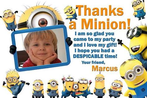 minion thank you cards template despicable me minions thank you card digital despicable