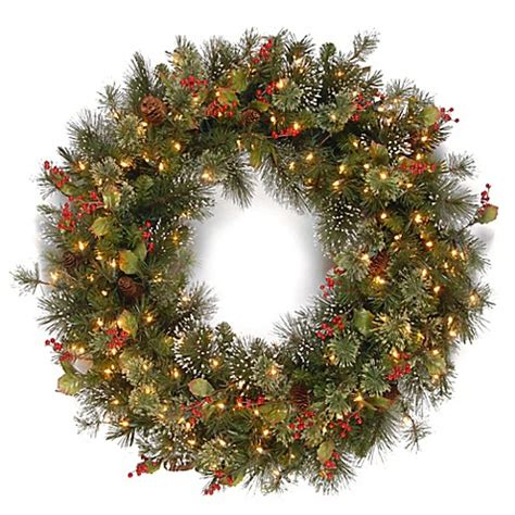 buy 4 foot wintry pine christmas wreath with clear lights