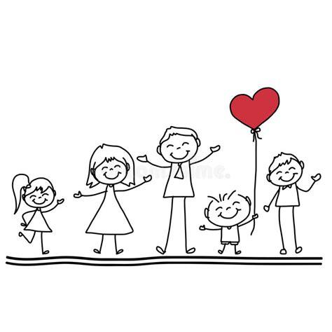 imagenes de la familia watterson familia feliz de la historieta del dibujo de la mano stock