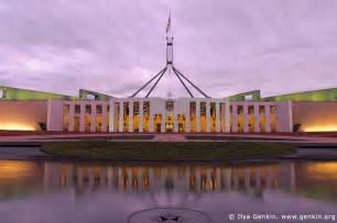 parliament house at dusk capital hill canberra act