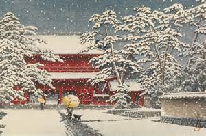 Best Orange Color snowy landscapes japanese woodblock prints by kawase