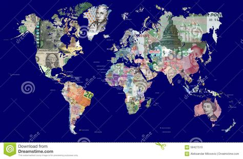 be in this world as map of the world in currencies stock photo image 58427510