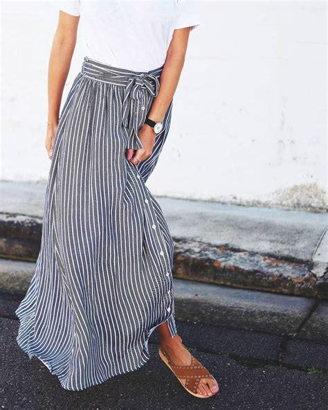 Rok Stripes Pelangi Rainbow Maxi Skirt gray white stripes pinteres