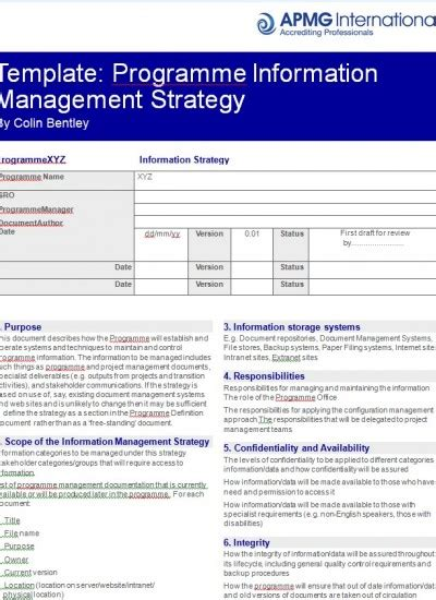 programme information management strategy template apmg