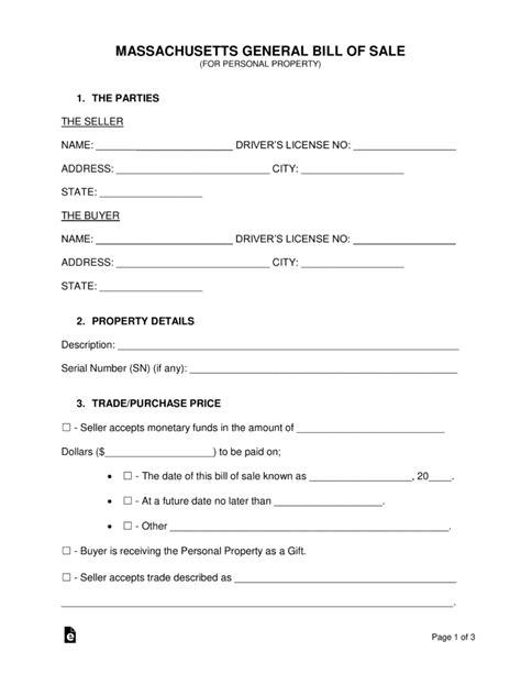 Free Massachusetts General Bill Of Sale Form Word Pdf Eforms Free Fillable Forms Bill Of Sale Template Ma