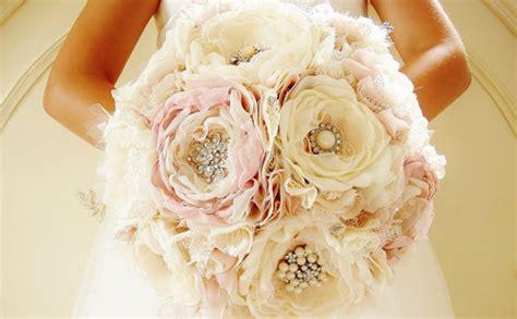 Handmade Wedding Bouquet - fabric brooch bouquet bridal bouquet fabric flower