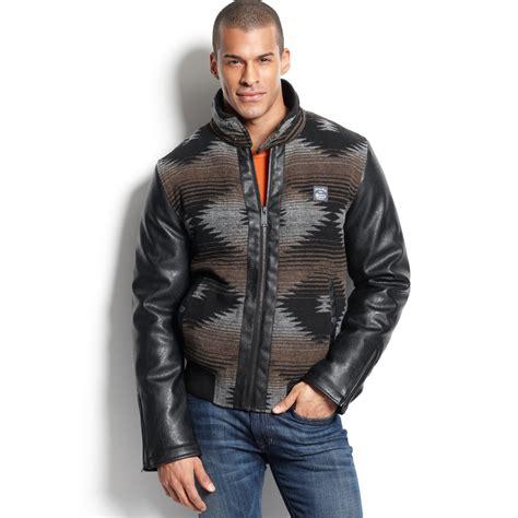 pattern jeans jacket sean john aztec pattern zip front jacket in multicolor for