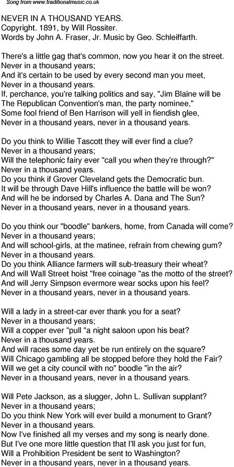 years lyrics time song lyrics for 34 never in a thousand years