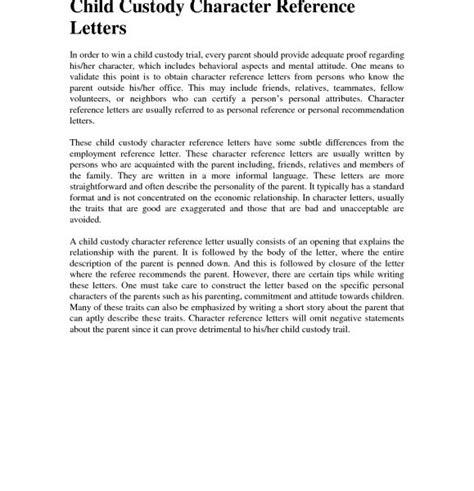 Character Reference Letter For Joint Custody Granitestateartsmarket Com Child Visitation Letter Template