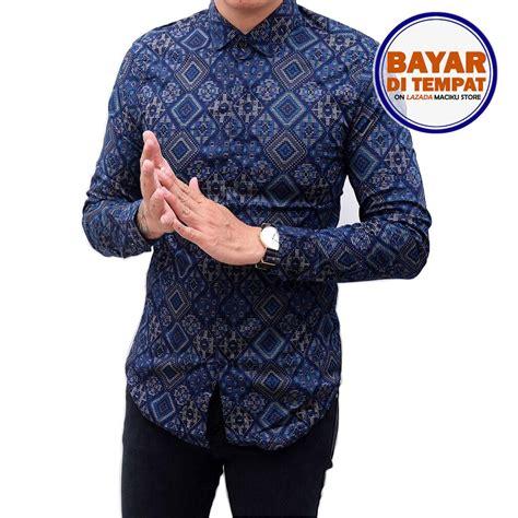 Baju Lebaran Kemeja Batik Cowok Tosca Kemeja Kantor Baju Atasan baju batik pria eksklusif kemeja lengan pendek motif kombinasi prada emas warna belakang polos