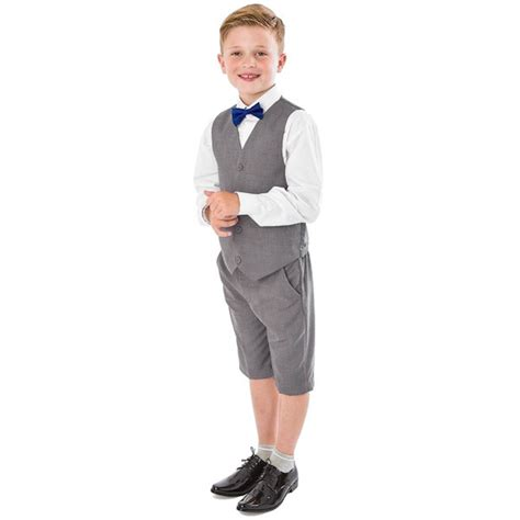 boys light gray suit light grey 4 suit with shorts wedding suit ring